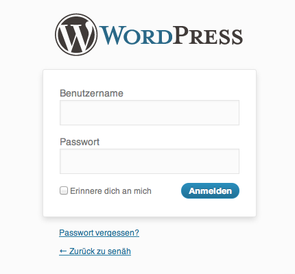 Der WordPress-Login-Screen