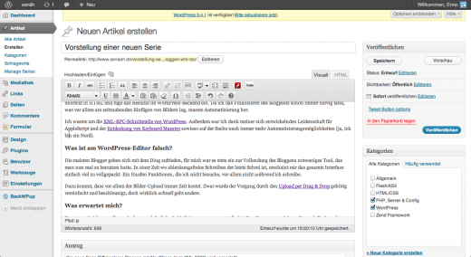 Ansicht des WordPress-Editors – Ablenkung galore
