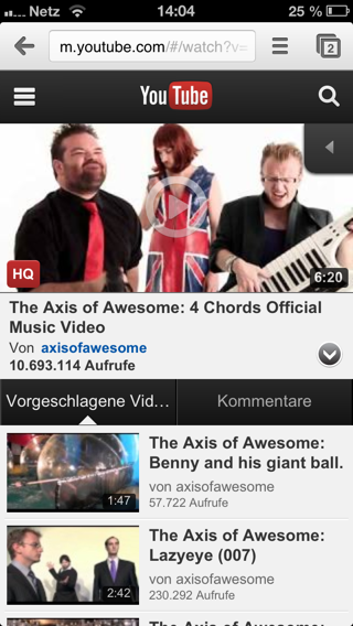 Mobile YouTube-Ansicht auf dem iPhone
